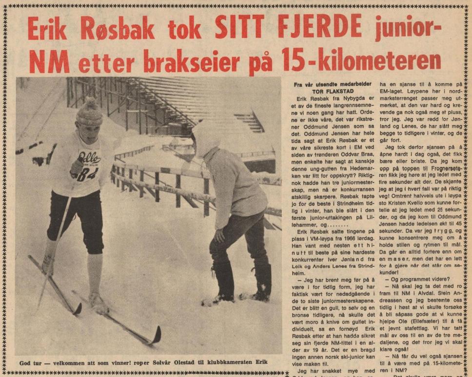"""Faksimile Hamar Arbeiderblad 10. februar 1969: """"Erik Røsbak tok SITT FJERDE junior-NM etter brakseier på 15-kilometeren."""