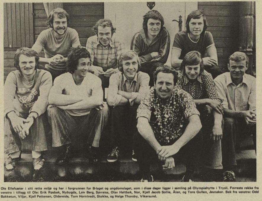 Faksimile Hamar Arbeiderblad 14.8.1974 - gruppebilder fra en treningsleir på Trysil.