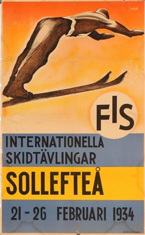 Plakat fra Internationella Skidtävlingar i Sollefteå 21.-26. februar 1934.