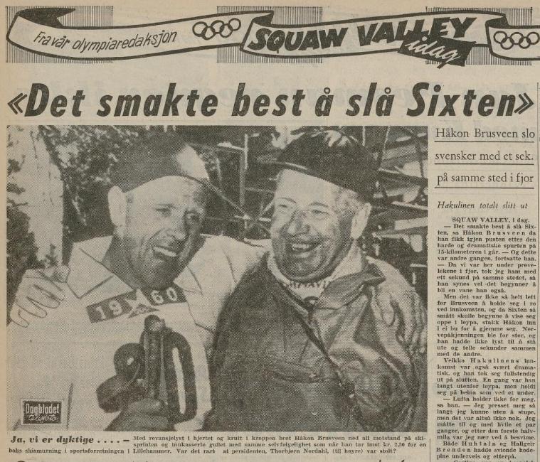 """Faksimile Dagbladet 24.2.1960 - oppslag om OL-vinner Håkon Brusveen med overskriften """"Det smakte best å slå Sixten"""""""